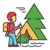 Acampando, viajante, turista, caminhando, montanhas, conceito da viagem da floresta ilustração do vetor