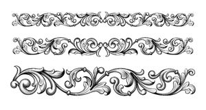 Acanthe, antiquité, l'arabe, le baroque, noir et blanc, frontière, calligraphique, cartouche, classique, coin, damassé, décoratio illustration de vecteur