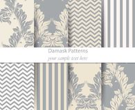 Acanthus leaf pattern set Vector. Classic Baroque ornament decor. Vintage background. Pastel color fabric textures. Acanthus leaf pattern set Vector. Classic Royalty Free Stock Image