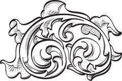 Acanthuse utsmyckat blad royaltyfri illustrationer