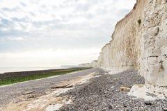 Acantilado blanco popular Birling la costa de Gap Océano Atlántico, Susse del oeste Foto de archivo