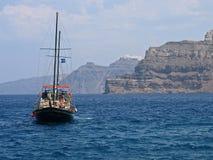 Acantilado de Grecia Santorini panorámico Foto de archivo