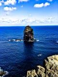 Acantilado en Madeira con el mar Imagenes de archivo