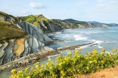 Acantilado flisz w Zumaia - Baskijski kraj, Hiszpania obraz stock