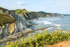 The Acantilado Flysch in Zumaia - Basque Country, Spain. The Acantilado Flysch in Zumaia - Basque Country. Flysch is a sequence of sedimentary rock layers that stock image