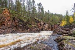Acantilado, pared de piedra, bosque, cascada y opinión salvaje del río en otoño Foto de archivo