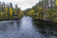 Acantilado, pared de piedra, bosque, cascada y opinión salvaje del río en otoño Fotografía de archivo