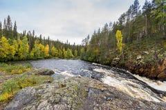 Acantilado rojo, pared de piedra, bosque, cascada y opinión salvaje del río en otoño Fotografía de archivo