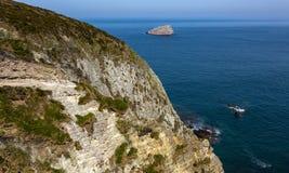 Acantilados de Armor Coastline - Bretaña, Francia fotos de archivo libres de regalías