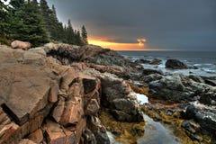 Acantilados de la nutria en el parque nacional del Acadia Fotografía de archivo