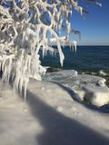 Acantilados del lago Michigan en invierno foto de archivo libre de regalías