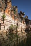 Acantilados devonianos esculpidos de la piedra caliza de la garganta de Geikie Foto de archivo