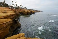 Acantilados parque natural, San Diego, California de la puesta del sol foto de archivo libre de regalías