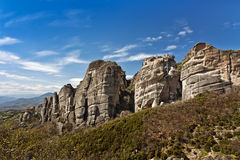 Acantilados y monasterios de Meteora Fotografía de archivo