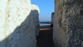 Acantilados y rocas blancos de la tiza en la bahía Inglaterra de la botánica almacen de metraje de vídeo