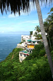 Acapulco Bay. View of Acapulco Bay and cliff side villas from the patio of the Los Flamingos hotel once owned by John Wayne Johnny Weissmuller etc in the 1950's Royalty Free Stock Image