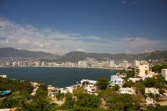 Acapulco bay beaches hotels sun mountains trees Guerrero Mexico. Acapulco bay beaches hotels sun mountains trees landscape Guerrero Mexico Royalty Free Stock Photo
