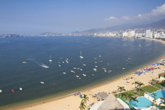 Acapulco bay Mexico. Huge bay of hotels stretching along the coast in acapulco, mexico Stock Photography
