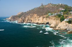 Acapulco Cliffs. Coastal views of the Cliffs of Acapulco, Mexico Stock Images