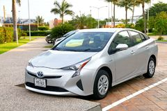 Toyota Prius. Acapulco, Mexico - May 28, 2017: Hybrid motor car Toyota Prius in the city street royalty free stock photos