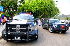 Dodge Ram and Jeep Patriot. Acapulco, Mexico - May 28, 2017: Police cars Dodge Ram and Jeep Patriot in the city street stock images