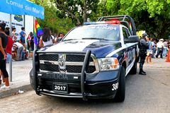 Dodge Ram. Acapulco, Mexico - May 28, 2017: Police pickup truck Dodge Ram in the city street royalty free stock image