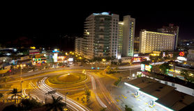 Acapulco at night. Ariel view of the La Diana Cazadora traffic circle and skyline of Acapulco Mexico Royalty Free Stock Images