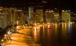 Acapulco Nights. Ariel Nighttime view of Acapulco Mexico Beach & Resort Area Royalty Free Stock Photography