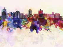 Acapulco skyline in watercolor background Stock Photo