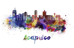 Acapulco skyline in watercolor Royalty Free Stock Photo