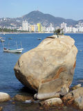 Acapulco Stones. Big Stones with Acapulco skyline in a background (Mexico Royalty Free Stock Photography