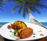 Acarajé of Bahia. Acaraje under a coconut tree Stock Photography
