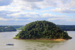 Acaray island on the border of Brazil and Paraguay Stock Photography