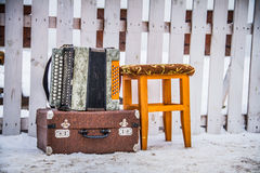 Acardion. Old Music Chair Suitcase Tool Retro Melodies Holiday Travel Background Traditional Hearing Beauty Game Royalty Free Stock Photo