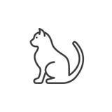 Acaricie la línea de gato icono, muestra del vector del esquema stock de ilustración