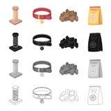 Acaricie la tienda, los productos, la mercancía y el otro icono del web en estilo de la historieta Arrolle, rosque, los iconos de stock de ilustración