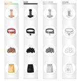 Acaricie la tienda, los productos, la mercancía y el otro icono del web en estilo de la historieta Arrolle, rosque, los iconos de ilustración del vector