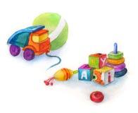 Acarree el coche del juguete para el muchacho, los juguetes, la perinola, la bola y los cubos con las letras, acuarela Imagenes de archivo