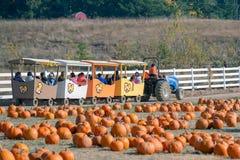 Acarreo del tractor carros llenados de los visitantes fotos de archivo