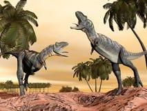 Acasaurus dinosaurieslagsmål - 3D framför Royaltyfri Bild