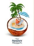 Acation概念 棕榈树、手提箱和伞 库存例证