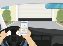 Accès distant par l'intermédiaire du smartphone APP mobile à la porte de garage Photos libres de droits