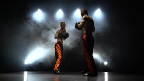 Accès le type et la fille sur les pattes de boxe Lumière par derrière Fumez le fond banque de vidéos