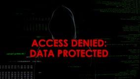 Accédez a nié les données protégées, tentative entaillante infructueuse sur le serveur, échec photo stock