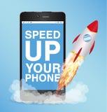 Accélérez la poussée futée de téléphone avec la fusée de jouet Images stock