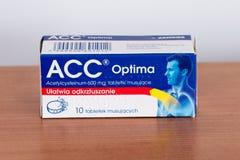 ACC Optima acetylcysteinum 600 mg tablets. Pruszcz Gdanski, Poland - February 2, 2019: ACC Optima acetylcysteinum 600 mg tablets royalty free stock photo