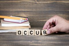 accada Lettere di legno sulla scrivania immagine stock