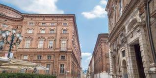 Accademia delle有Palazzo的卡里尼亚诺Scienze街在都灵,意大利 免版税库存图片
