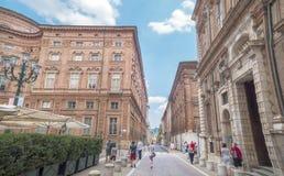 Accademia delle Scienze Street with Palazzo Carignano in Turin,Italy Stock Photos