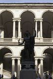 Accademia di Brera courtyard in Milan, with Napoleon Statue Stock Photography
